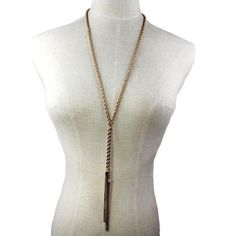 Long Gold Plated Double Tassel Necklace