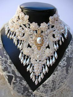 Ivory Blush Bridal statment Neck piece. by MoonGoddessJewellry
