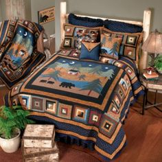 Transform your bedroom into a cabin retreat with the Donna Sharp Midnight Bear Quilt. Adorned with a scene of a mother bear and her two cubs taking a midnight stroll, the classic patchwork design of the bedding brings a cozy, rustic touch to any room. Twin Quilt, Quilt Bedding, Bedding Sets, Bed Quilts, Rustic Quilts, Rustic Bedding, Unique Bedding, Colchas Quilting, Wildlife Quilts