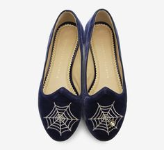 Charlotte Olympia Blue And Gold Flat