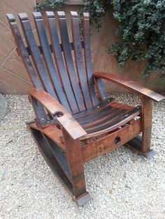 reclaimed handcrafted wine stave rocking chair by reWINEddesigns Wine Barrel Chairs, Wine Barrel Furniture, Rustic Furniture, Cool Furniture, Wine Barrels, Whiskey Barrel Table, Furniture Removal, Furniture Companies, Handmade Furniture