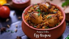 Home Cooking Pressure Cooker Egg Biryani The word Biryani makes us drool. And often times we don't have the time to the elaborate dum biryani, so I have come up with an easy yet tasty biryani tha Veg Recipes, Curry Recipes, Snack Recipes, Cooking Recipes, Easy Recipes, Egg Recipes Indian, Indian Dessert Recipes, Indian Dishes, Biryani Recipe Video