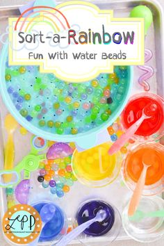 Sort-A-Rainbow fun with water beads activity for color learning, sorting, sensory play, & fine motor skills