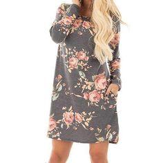 Grey Floral Printed Long Sleeve Mini Dress