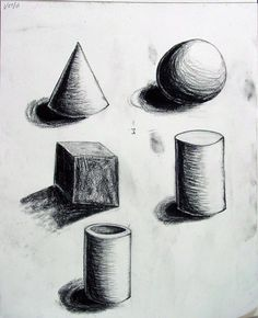Form- These sketches of different shapes in 3D really bring out the mass, width, length, and depth of all these shapes by drawing the shadows.