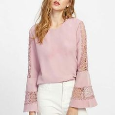 Bell Sleeve Lace Cut Out Blouse -SheIn(Sheinside) - moda Casual Skirt Outfits, Classy Outfits, Look Fashion, Fashion Outfits, Womens Fashion, Fashion 2018, Blouse Styles, Blouse Designs, Sewing Blouses