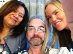 Rob Cipriano with Mary Ann and Anna two wonderful nurses at Cedars Sinai Medical Center