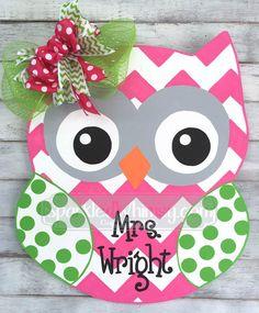 Personalized Chevron & Polkadot Owl Door Hanger by SparkledWhimsy