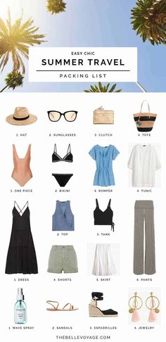 summer travel packing outfits
