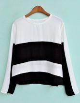 Black White Striped Long Sleeve Chiffon Blouse #SheInside