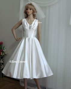 536d100d0da Clara - Vintage Inspired Satin Tea Length Wedding Dress. Wedding Dress Train
