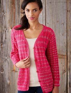Knit in a fun hot pink shade of Patons Glam Stripes with a touch of sparkle, this cardigan can be dressed up or down!