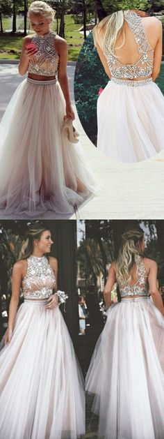 Fashion High Neck Open Back Prom dresses, Champagne Two Piece Prom Dress, Chic Bridesmaid Dresses with Beading Rhinestones