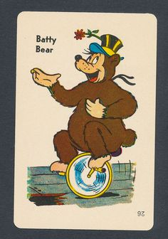 Batty Bear card from 1959 Old Maid Circus Edition game - 1 card #EduCards