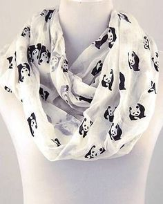Not you usual Animal Print! Black & White Panda Bear Infinity Scarf Animal Print $21.99- This is such an adorable scarf... <3 it!!!