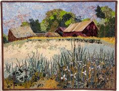 SOLD on etsy.  Landscape farm confetti art quilt wall hanging. Featured in the Winter 2013 issue of Art Quilting Studio Magazine!  Perfect fiber art wall hanging for your home or office.