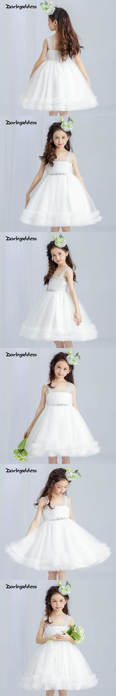 QSYYE 2018 Tiffany Blue Cute Flower Girl Dresses 3D Floral Flowers V Neck  Keen Length Tulle Girls Prom Party Gown for Weddings  dccd4ef376f5