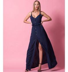 Maxi Φόρεμα με Κουμπιά και Βολάν στη μέση - Μπλε-Navy
