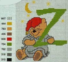 Winnie the Pooh Cross Stich Alphabet. Z  Alfabeto de Winnie the Pooh para Bordar.