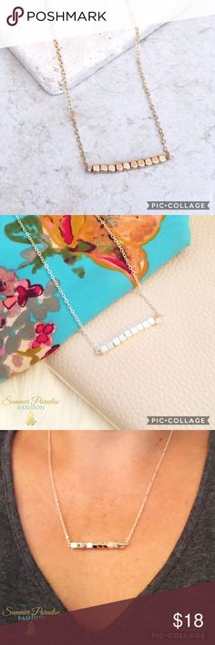 💠BOGO50% SALE!💠 NWT Delicate Necklace Vibrant Alloy metal, gold or silver plated necklace. 18 inches with 1.5 inch extender. Available in GOLD or SILVER!                                                                                             💠ASK FOR A BOGO50% BUNDLE listing to be created for your selections to receive discount!                         💠BOGO 50% OFF! Buy 1 item and get 2nd item of equal or less price at 50% OFF!                                TAGS: Bar Necklace…