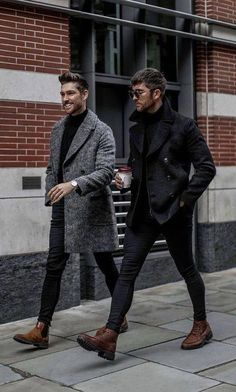 with two fall/winter combo ideas with black slim cut denim black pea coat gray overcoat black turtlenecks brown chelsea boots brown boots sunglasses watch Mens Fall Outfits, Stylish Men, Men Casual, Stylish Outfits, Mode Man, Moda Blog, Herren Outfit, Mens Fashion Suits, Jackets Fashion