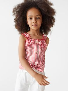 KNOTTED STRIPED TOP - SHIRTS AND BLOUSES-GIRL | 5 - 14 yrs-KIDS | ZARA United States Cut Out Swimsuits, Girls Blouse, Julia, Pretty Baby, Summer Baby, Kids Girls, Spring Summer Fashion, Kids Fashion, Women's Fashion