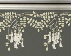 Schablone für Wände  Robinie Blumen BORDER  von OliveLeafStencils, $44.95