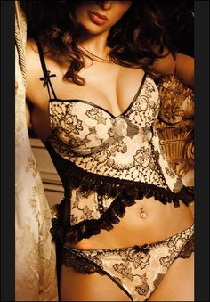 black and white lace and ruffles