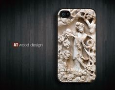 Case for black iphone 4 case iphone 4s case iphone 4 cover embossment  art design printing. $14.99, via Etsy.
