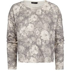 MANGO Floral print crop sweater ($30) ❤ liked on Polyvore featuring tops, sweaters, shirts, floral, grey, long sleeve crop sweater, floral sweater, grey cropped sweater, floral shirts and crop shirt