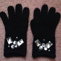 Betsy Johnson Embellished Winter Gloves Black winter gloves with silver and black jeweled embellishments by Betsey Johnson. So cute and warm! In great condition. Betsey Johnson Accessories Gloves & Mittens