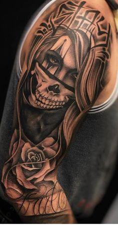 Half Sleeve Tattoos For Guys, Best Sleeve Tattoos, Tattoo Sleeve Designs, Leg Tattoos, Body Art Tattoos, Girl Tattoos, Cute Tattoos, Skull Tattoo Flowers, Skull Girl Tattoo
