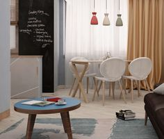 Student apartment on Behance Student Apartment, Fox Art, Red Fox, Wishbone Chair, Behance, Interior, Furniture, Home Decor, Behavior