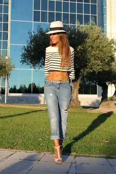 Stripes + Crop Top + boyfriend jeans +fedora + strappy heels