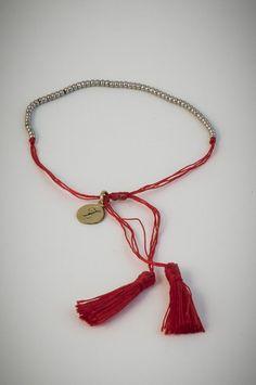 Red bracelet with small silver beads. Silver Beads, Tassel Necklace, Bracelets, Red, Jewelry, Bangle Bracelets, Jewellery Making, Jewerly, Jewelery