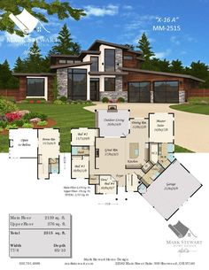 """""""Sting A"""" by Mark Stewart Home Design. A modern masterpiece with exciting curb appeal and a proven floor plan. House Plans Mansion, Sims House Plans, Dream House Plans, Small House Plans, Dream Houses, Cool House Plans, Family House Plans, Modern House Floor Plans, Contemporary House Plans"""