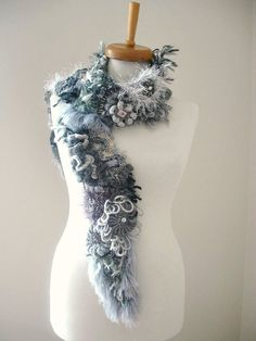 Freeform Crochet Scarf  Grey Special Listing For by crochetlab, $58.00