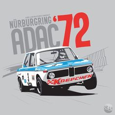History in Motion : Photo Rennsport, Bmw Classic Cars, Bmw 2002, Car Illustration, Car Posters, Car Drawings, Bmw M3, Art Cars, Automotive Art