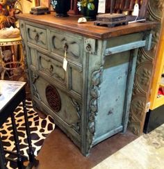 """Turquoise Asian Server   4' Wide x 20.5"""" Deep x 39"""" High   $1575  Grace Designs Booth #333  City View Antique Mall  6830 Walling Lane Dallas..."""