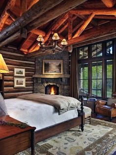Top 60 Best Log Cabin Interior Design Ideas - Mountain Retreat Homes Cabin Style Homes, Log Cabin Homes, Cabin Interior Design, Cabin Design, Interior Ideas, Log Cabin Bedrooms, Rustic Bedrooms, Rustic Cabin Master Bedroom, Log Cabin Interiors
