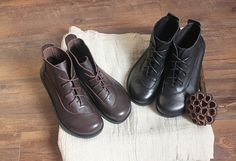 Handmade Brown Shoes,Black Ankle Boots,Oxford Women Shoes, Flat Shoes, Retro Leather Shoes, Casual Shoes, Short Boots  More Shoes: https://www.etsy.com/shop/HerHis?ref=shopsection_shophome_leftnav  ♥♥♥♥♥♥If you do not know which size you need to choose, please tell me the size you usually wear