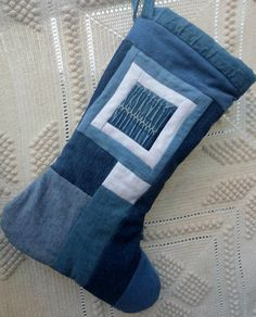 Blue Jean Christmas Stocking Upcycled Jeans by MilkweedQuilts