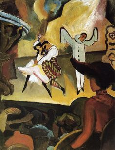 Russian Ballet I, Germany, 1912, by August Macke. The painting depicts a scene from Mikhail Fokine's staging of the ballet Carnaval for the Ballets Russes, with Pierrot helplessly throwing his hands to the sky while Harlequin dances away with Columbine.