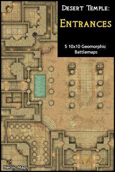 Heroic Maps - Geomorphs: Desert Temple Entrances - Heroic Maps   Buildings   Caverns & Tunnels   Dungeons   Egyptian   Ruins   Temples & Churches   Geomorphs   Tombs   Desert   DriveThruRPG.com