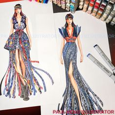 Design by Dylan Cai & Jae Ho Kim ( Class of for Mentor - Chris Chang, Shanghai, China at Otis College Fashion Design Sketchbook, Fashion Design Drawings, Fashion Sketches, Fashion Art, Fashion Models, Fashion Show, Fashion Outfits, Fashion Drawing Dresses, Fashion Illustration Dresses