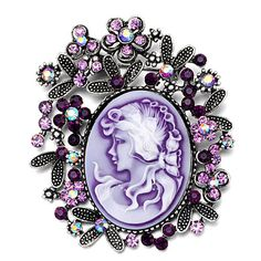 Brooches & Pins - antique vintage cameo brooches oval purple beauty fuchsia rose crystal pin brooch Image.