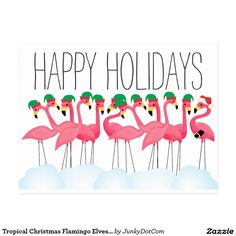 Tropical Christmas Flamingo Elves and Santa Postcard Nov 14 2016 @zazzle #junkydotcom