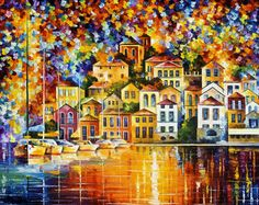 Boat Wall Art Harbor Oil Painting On Canvas By Leonid Afremov – Dream Harbor - Modern Canvas Paintings For Sale, Oil Painting On Canvas, Canvas Art, Big Canvas, Oil Paintings, Painting Clouds, Moon Painting, Knife Painting, Canvas Size