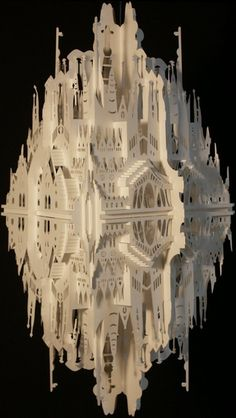 Artist: Ingrid Siliakus  Reflection on Sagrada Familia    Paper architect/artist....  her work is incredible!