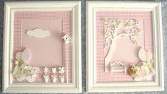Quadro retangular com aplicação de tecido no fundo combinando com a decoração do quarto do bebê. Aplicação de peças em resina e madeira recortada a laser para a decoração de camponesa. Camponesa revestida com tecido com forro em pecas sobrepostas para sugerir 3 D. Dois modelos: jardim e borboletas (ou o que voce sugerir). Acabamento laqueado branco ou provençal. Valor para um par, mas pode ser adquirido separadamente. PRODUTO ARTESANAL SUJEITO À VARIAÇÕES R$ 390,00